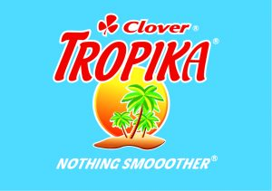 Tropika-stacked logo on blue