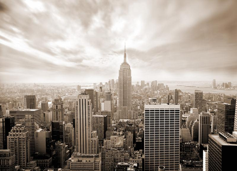 The breathtaking New York skyline - in sepia